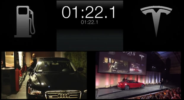 Tesla's demo shows how fast the Model S's battery can be swapped.