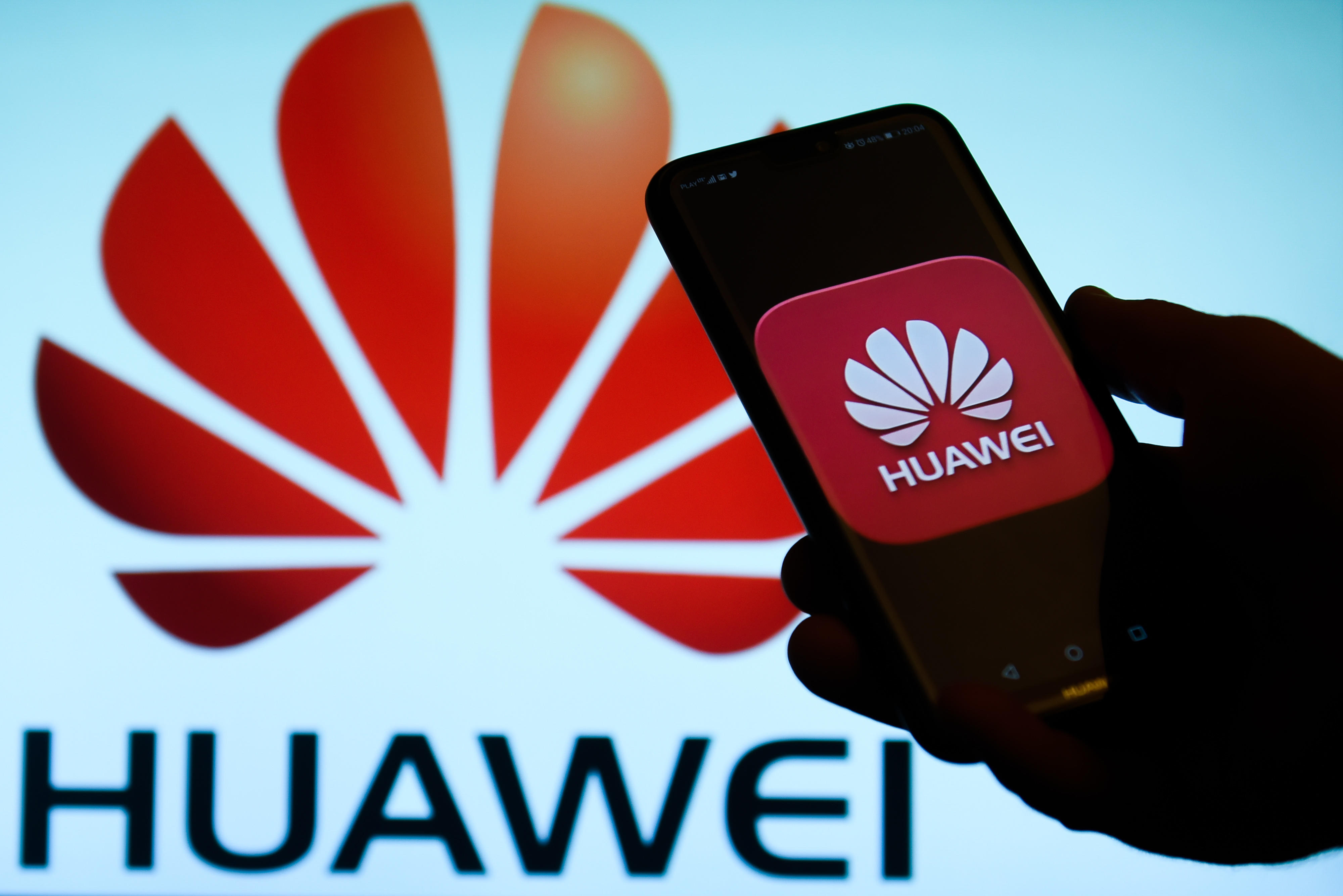 Huawei logo is seen on an android mobile phone