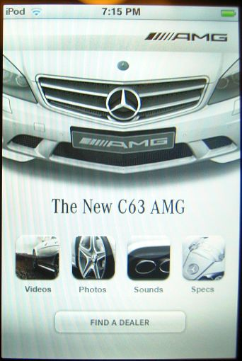C63 AMG app main menu--at least my hand's not in it this time.