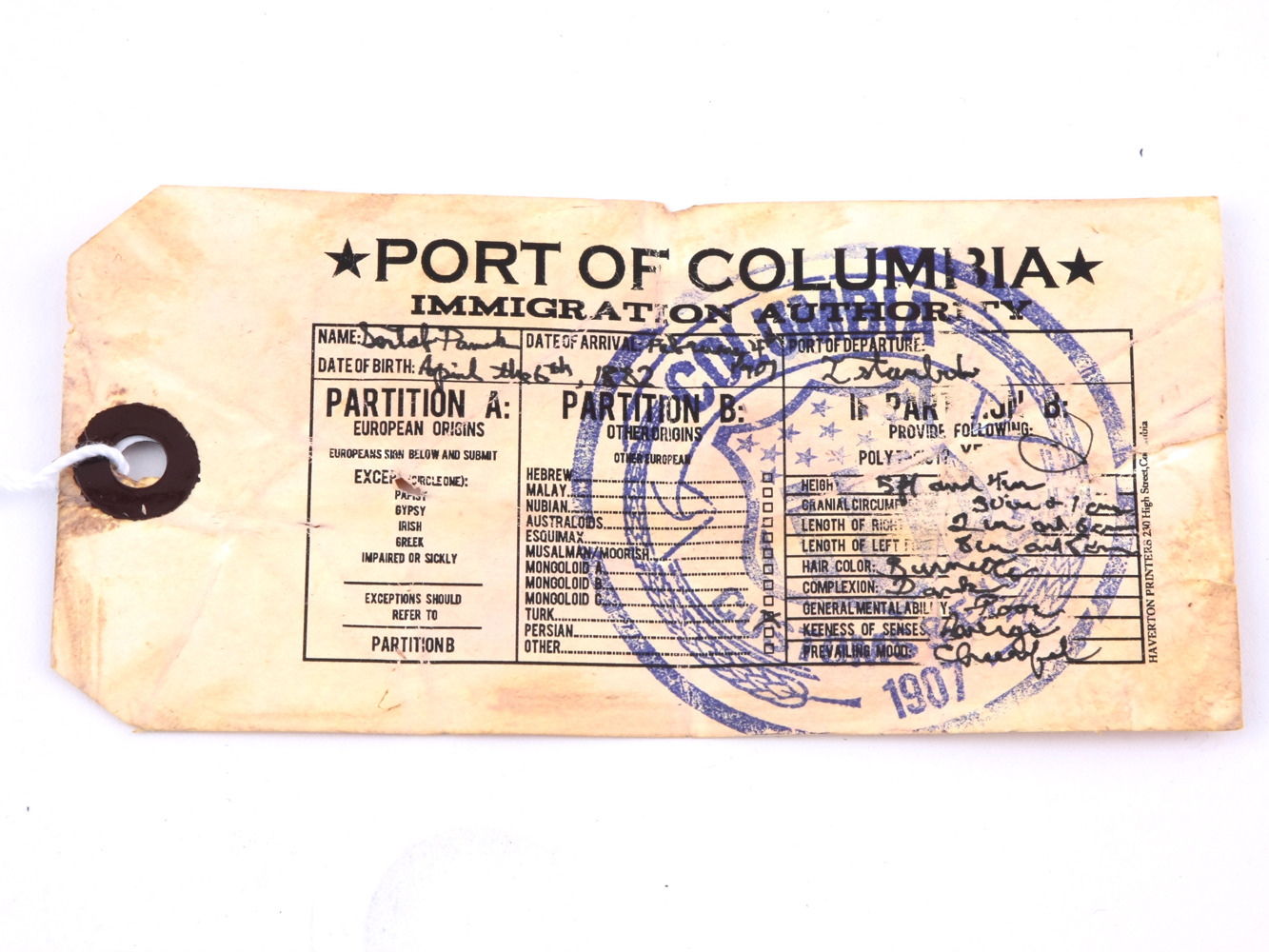 Port of Columbia immigration tag
