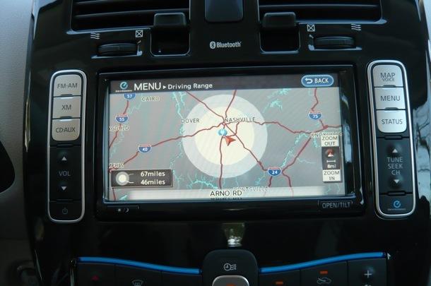 The navigation system includes a screen that maps how far you can go on the current battery charge.