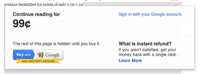 Google Wallet for web content lets publishers charge for access to individual articles.