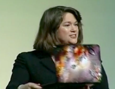 Diane Gilbert, a South Carolina teacher, shows off a Chromebook and said students like to customize them with skins.