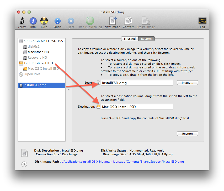 Drive and image setup in Disk Utility