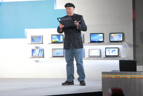 Mooly Eden, head of Intel's PC unit, shows off an ultrabook with a transparent touchscreen this year.
