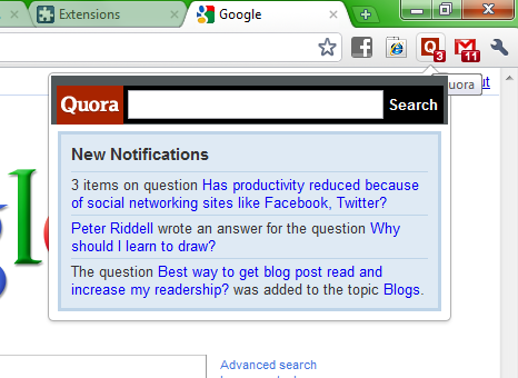 Quora's new API helps with projects such as Andrew Brown's Chrome extension for showing Quora notifications.