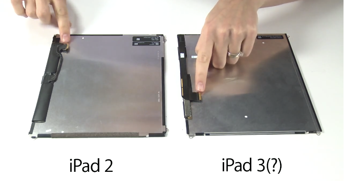 A shot of an iPad 2 display next to what might be the iPad 3's display