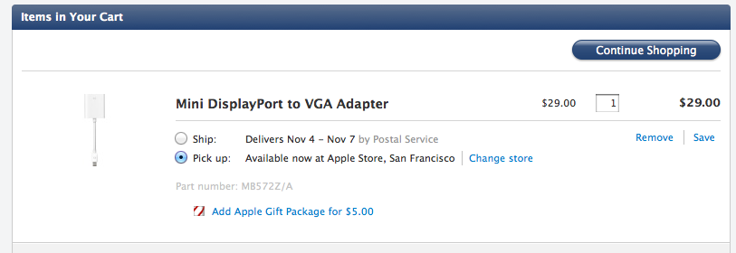 Apple's new in-store pickup option.