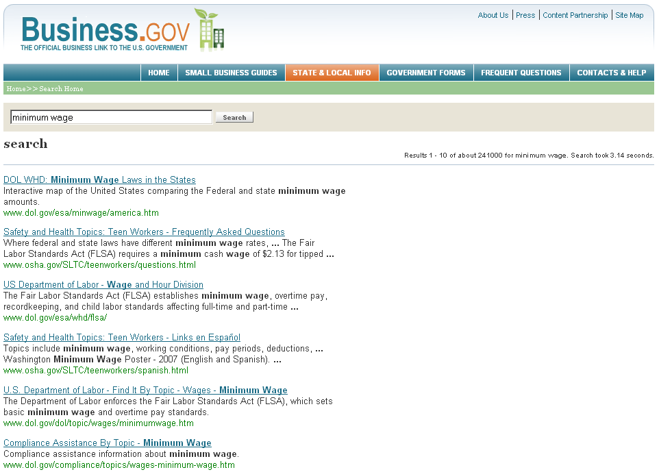 The Business.gov site uses Google site search to scour its documents.