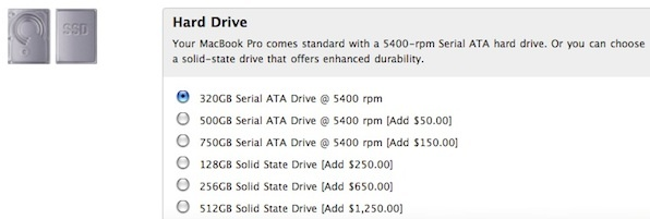 Apple still provides a good example of the sticker shock facing buyers who opt for an SSD over an HDD.