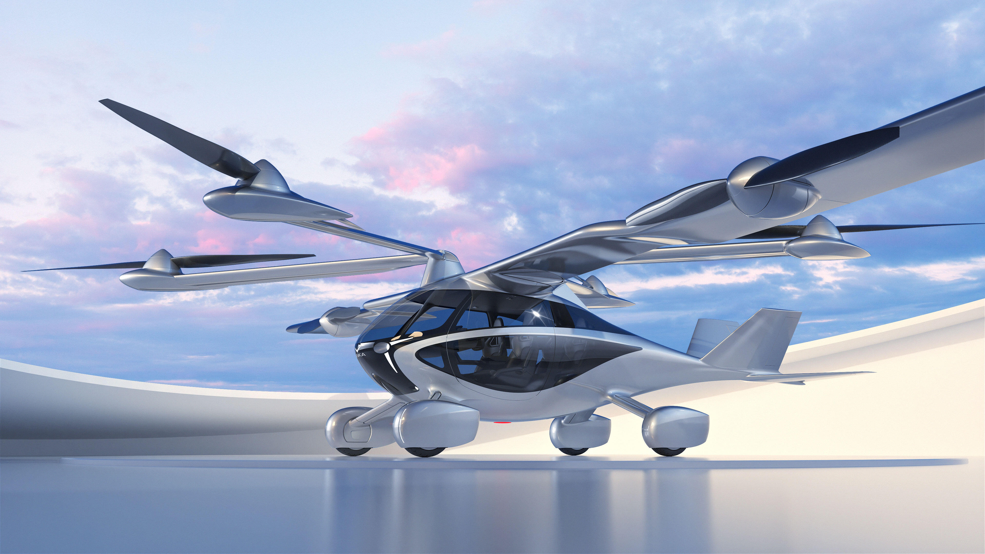 A computer rendering of NFT's Aska flying car, due to arrive in 2026.