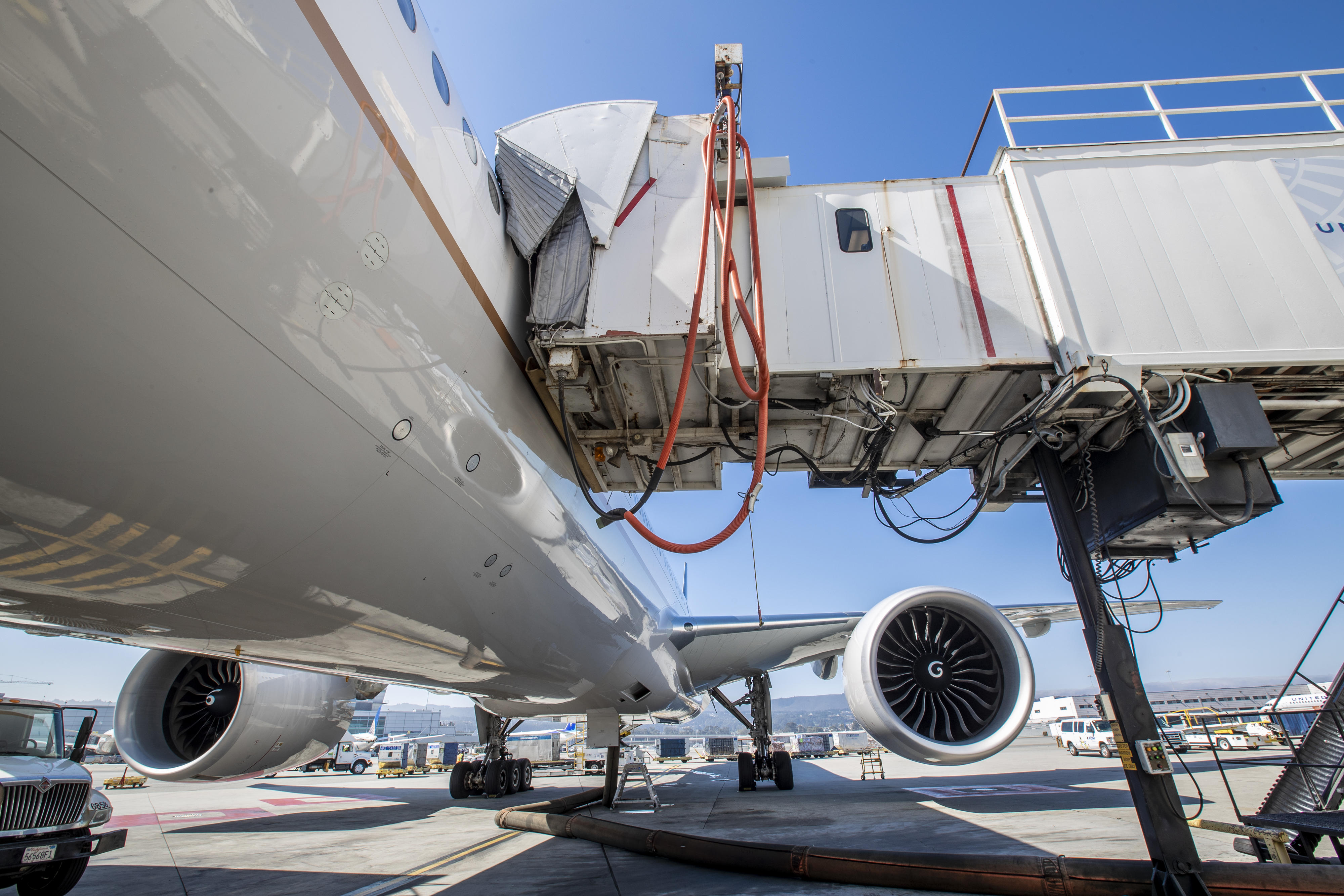 A jet bridge connects to an aircraft so passengers can disembark.