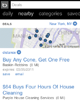 Bing's new deal finder can narrow down its list of deals by user location, taken from a mobile phone.