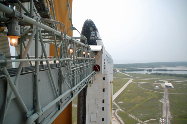 The space shuttle Atlantis stands ready for its final mission.