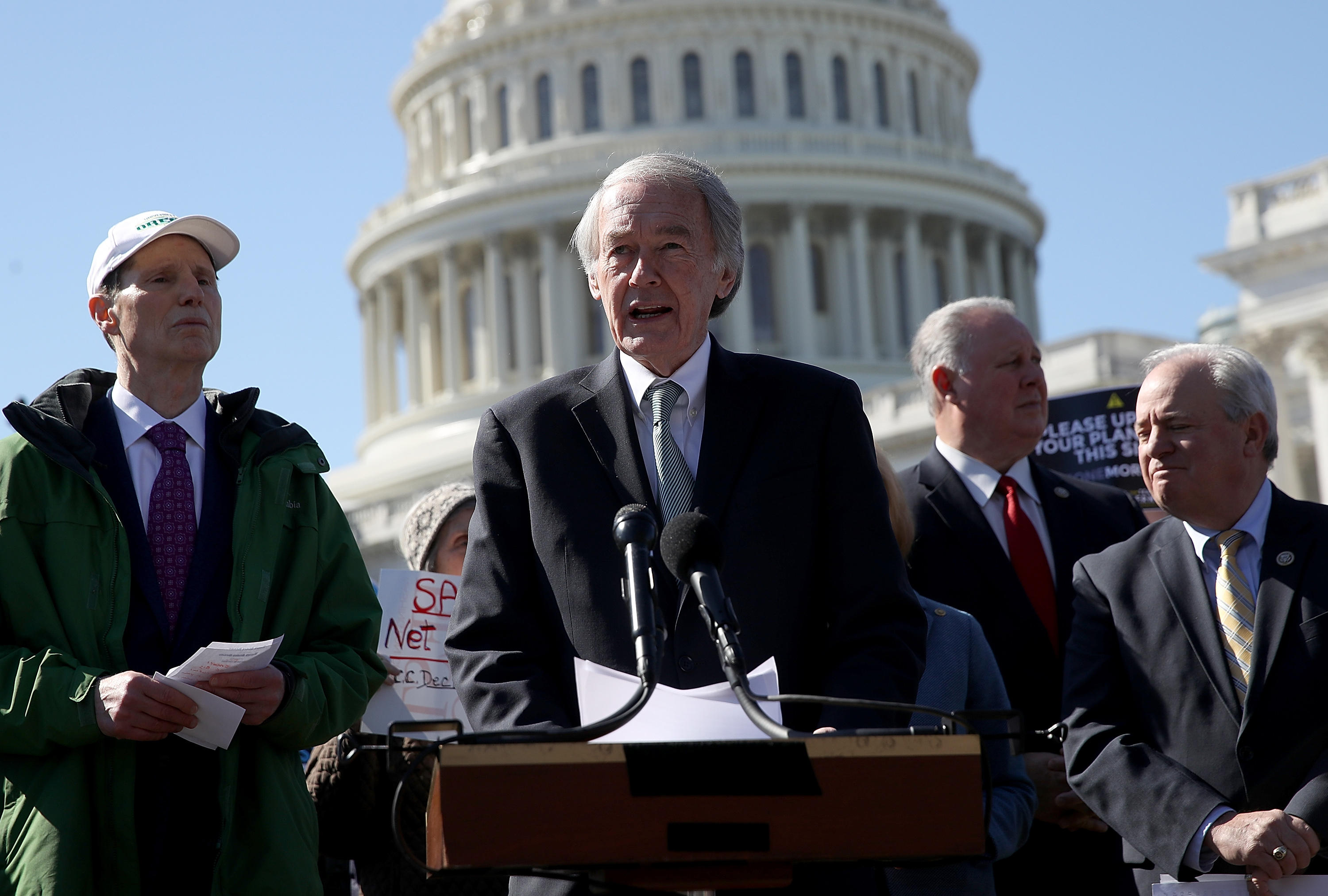 Democratic Sen. Ed Markey speaks at a news conference on net neutrality at the US Capitol.