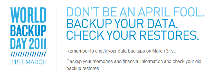 March 31 is World Backup Day.