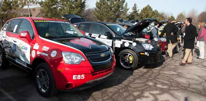 Alternative-power-train vehicles are on display at the EcoCar competition ride-and-drive. Sixteen teams of engineering students are in the third year of the contest, which ends in June.