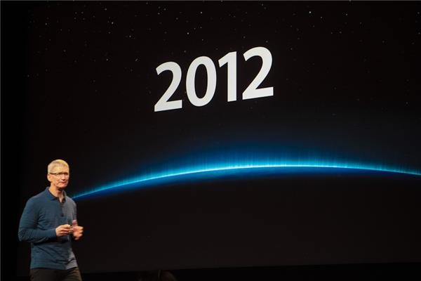 Apple CEO Tim Cook wrapping up the company's 2012 product line last month.