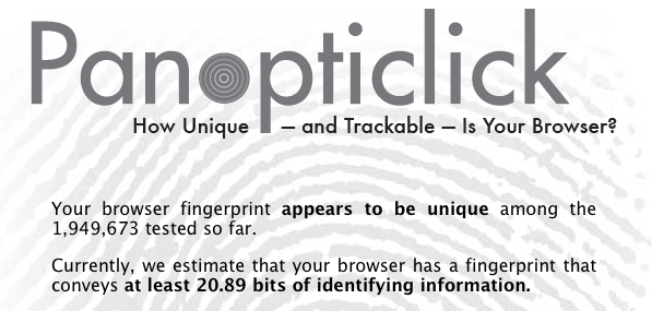 Results of Panopticlick browser-anonyity scan