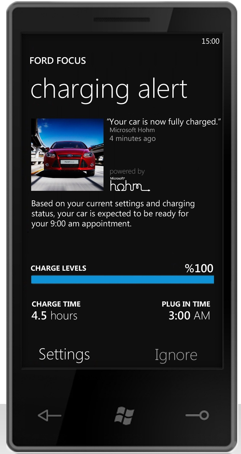Ford and Microsoft are teaming up to use Microsoft Hohm as a platform to help future owners of Ford's electric vehicles optimize the way they recharge their vehicle and better manage their home's energy use.   This is a concept image of how the application could look.
