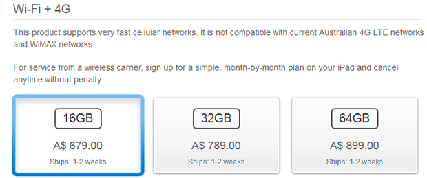 Apple's Australian Web site warns that the 4G iPad is incompatible with Australian 4G networks.