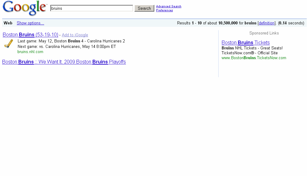 This is all that a usually instant search for 'Bruins' showed after 10 seconds. Click to enlarge.