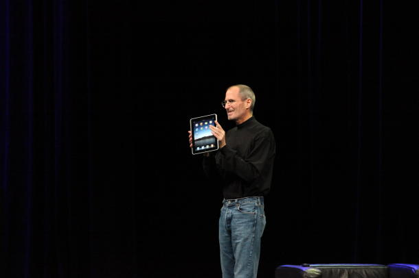 Late Apple co-founder Steve Jobs showing off the iPad for the first time in 2010.