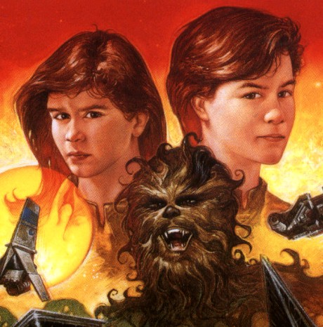 """Han and Leia's twin children, Jacen and Jaina Solo, have adventures with Chewbacca's nephew Lowie in the Expanded Universe """"Young Jedi Knights"""" book series."""