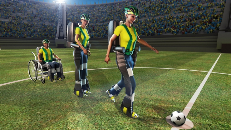 Using a sophisticated mind-controlled exoskeleton, a paralyzed teen will kick the first ball at the upcoming World Cup 2014 soccer tournament in Brazil.