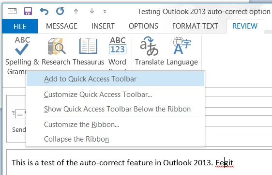 Right-click menu for Spelling & Grammar in Microsoft WordMail for Outlook 2013