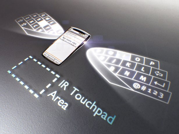 The phone would create a virtual keyboard and trackpad for better typing.