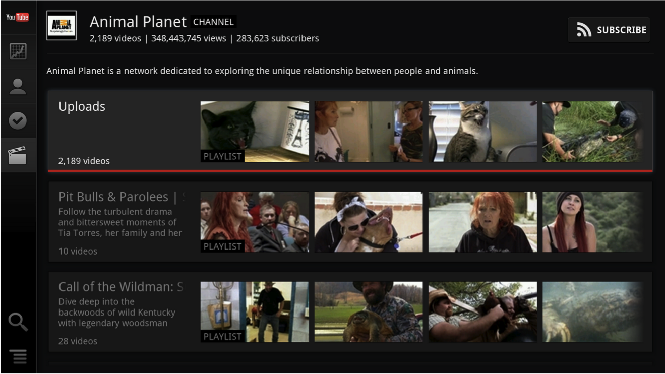 A look at Google's new YouTube app for Google TV.