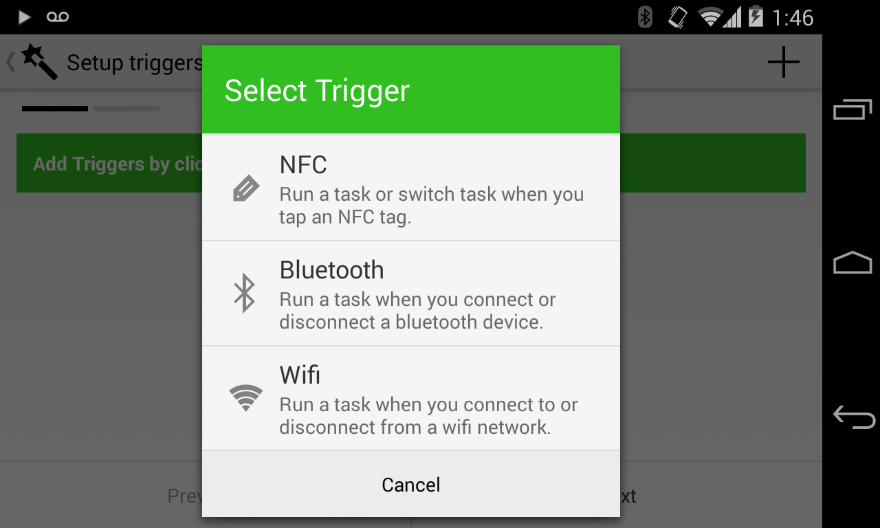 Trigger app for Android