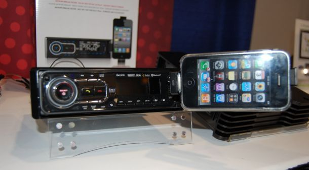 Dual's new receiver features a fold out iPod/iPhone dock behind its faceplate.