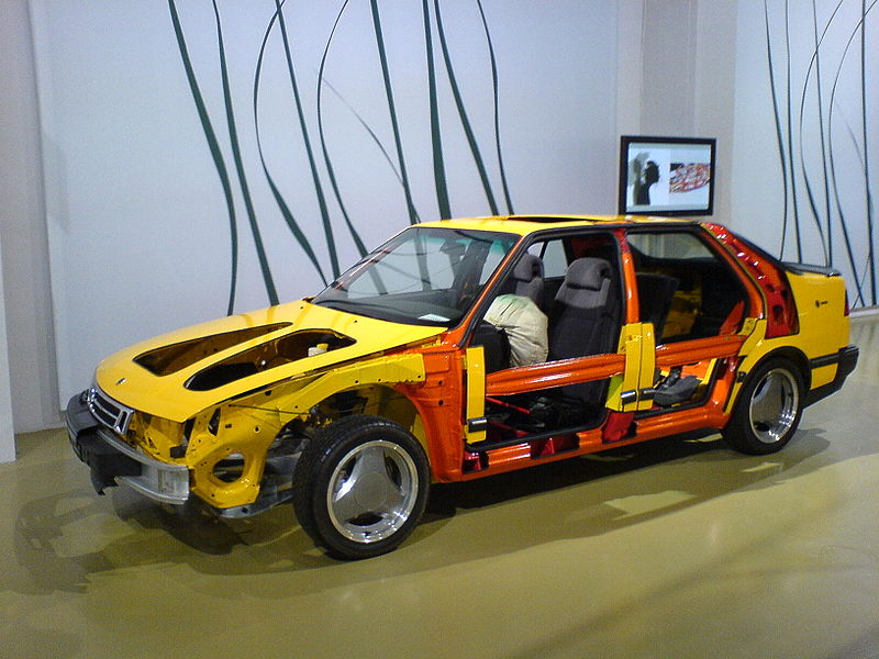 Cross section to show the different strength of the metal in a SAAB 9000. The model is standing in the SAAB museum in Trollhättan, Sweden.