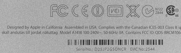 The 'assembled in USA' marking on the back of an iMac that iFixit got