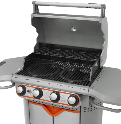 When not in use, grill inserts store underneath.
