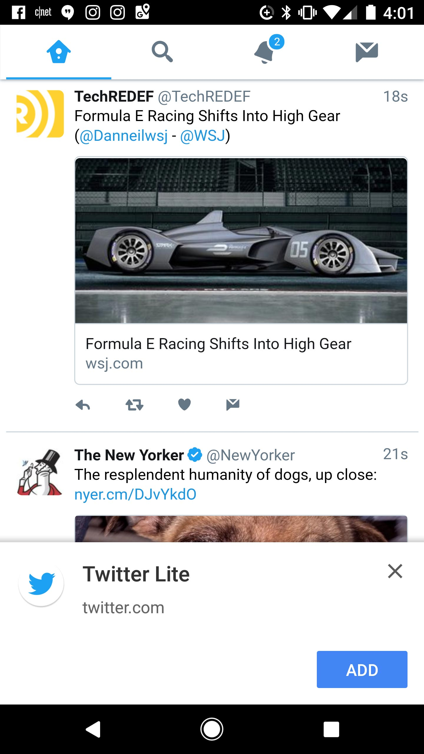 Twitter Lite looks similar to the native Twitter app. On Android, it asks if you want to add its icon to your home screen, a move that downloads components for a richer experience and faster launch times.