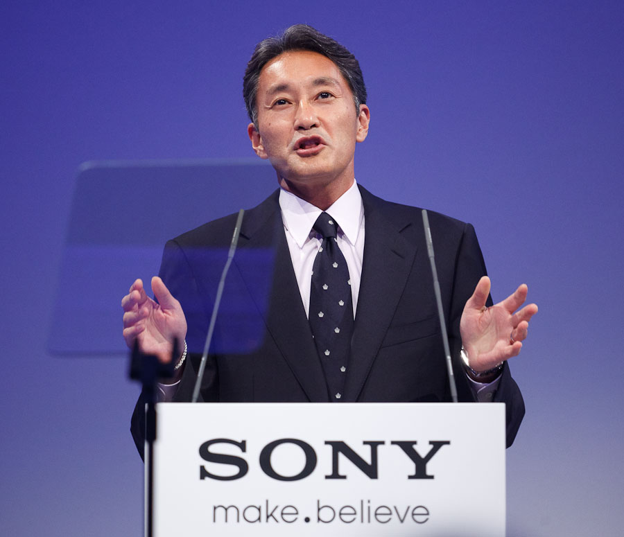 Kazuo Hirai, president of Sony's consumer products and services group, unveils the Sony Entertainment Network at IFA in Berlin.