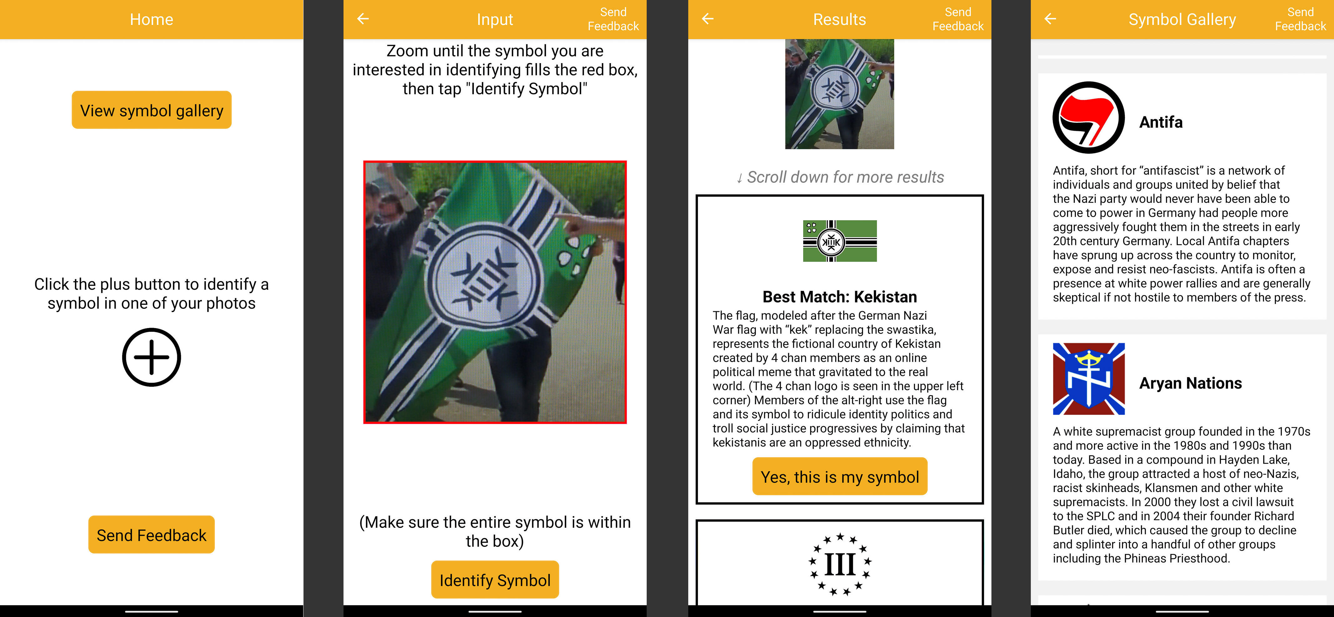 The VizPol app lets users upload a photo and zoom into it, after which it makes its best guess about the symbol. It also includes a reference guide with dozens of symbols.