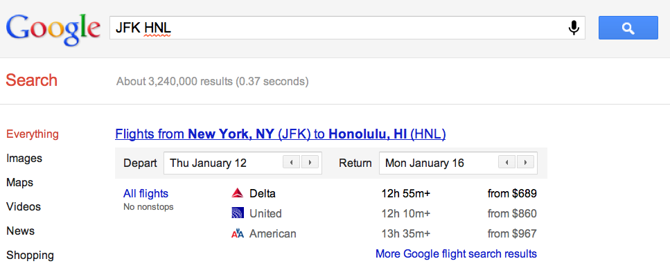 Searching for flights on Google.