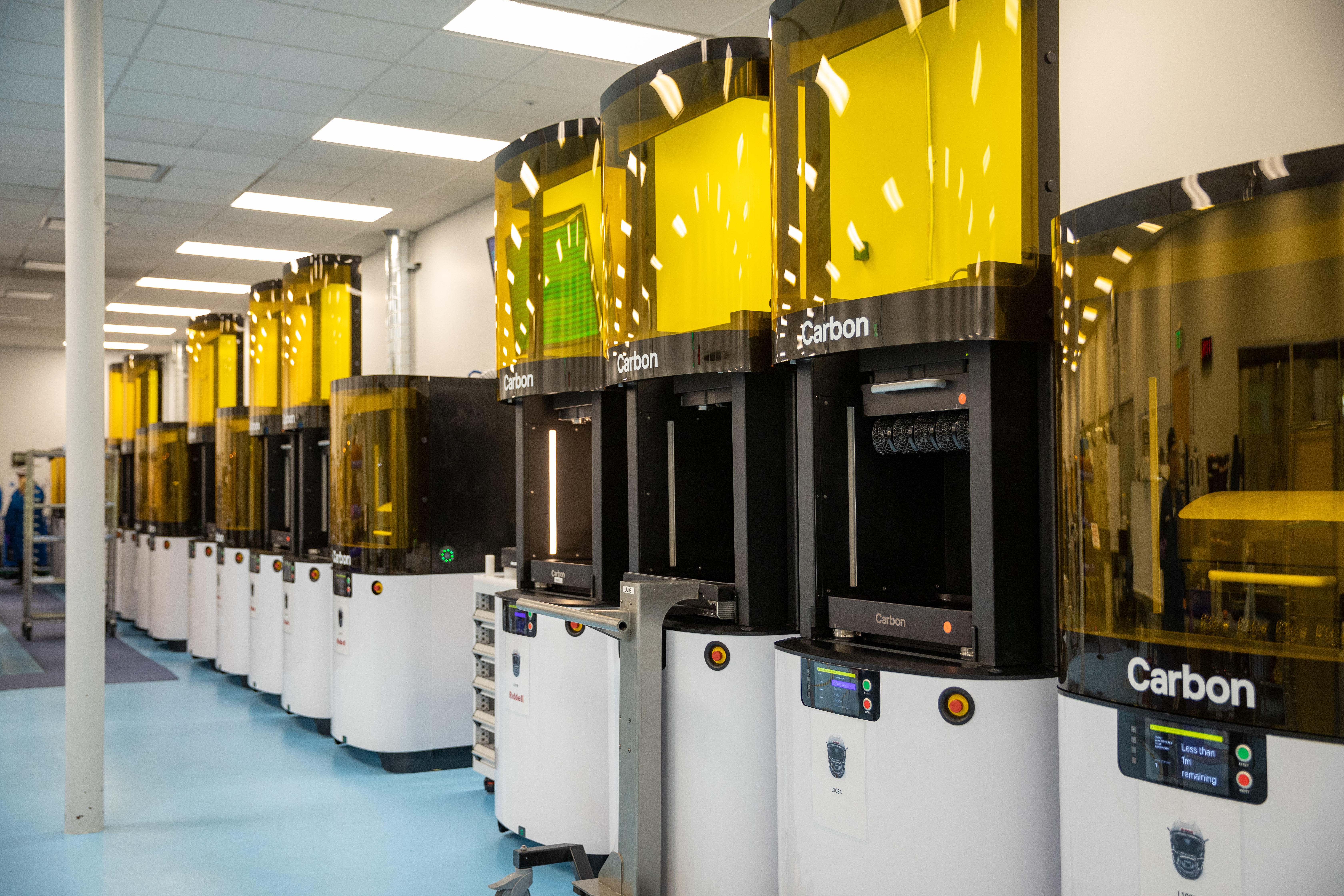 Carbon's L1 3D printers can make products with a wide variety of properties, from hard plastic to squishy shock absorbing materials in shoes and helmets.