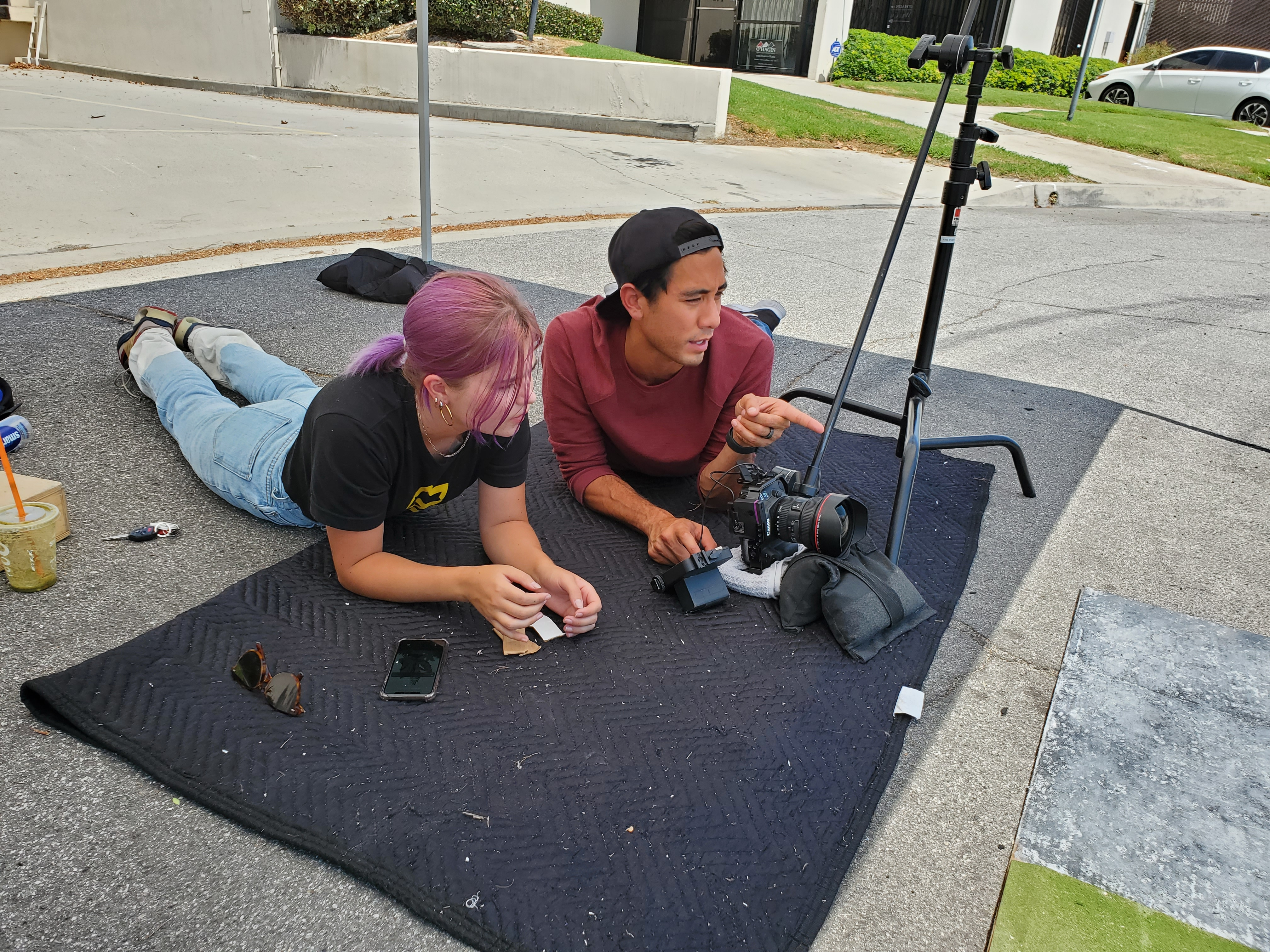 Zach King and his crew work on perfecting camera angles for their video shoot.