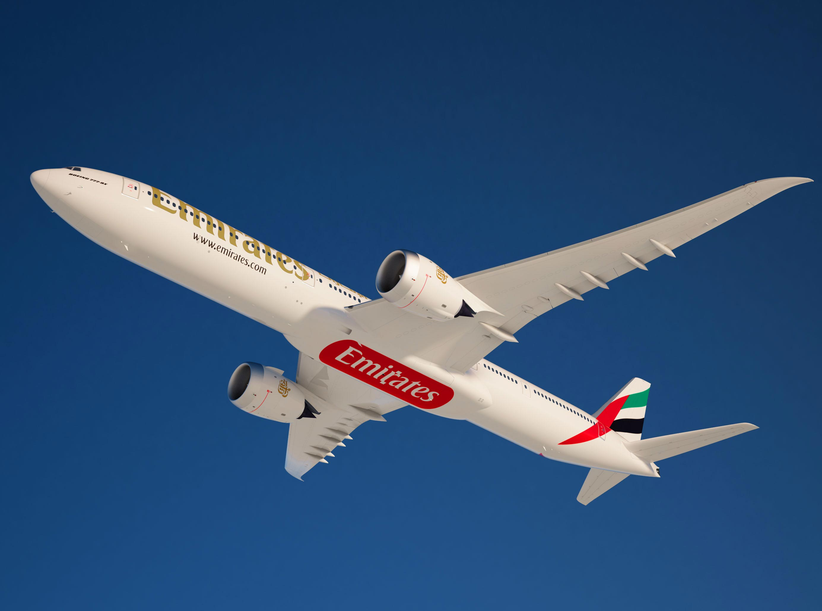 A rendering of Boeing's 777X in Emirates livery.