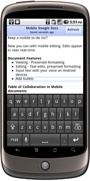 Android phones, iPhones, and iPads now can be used to edit Google Docs word processing documents.