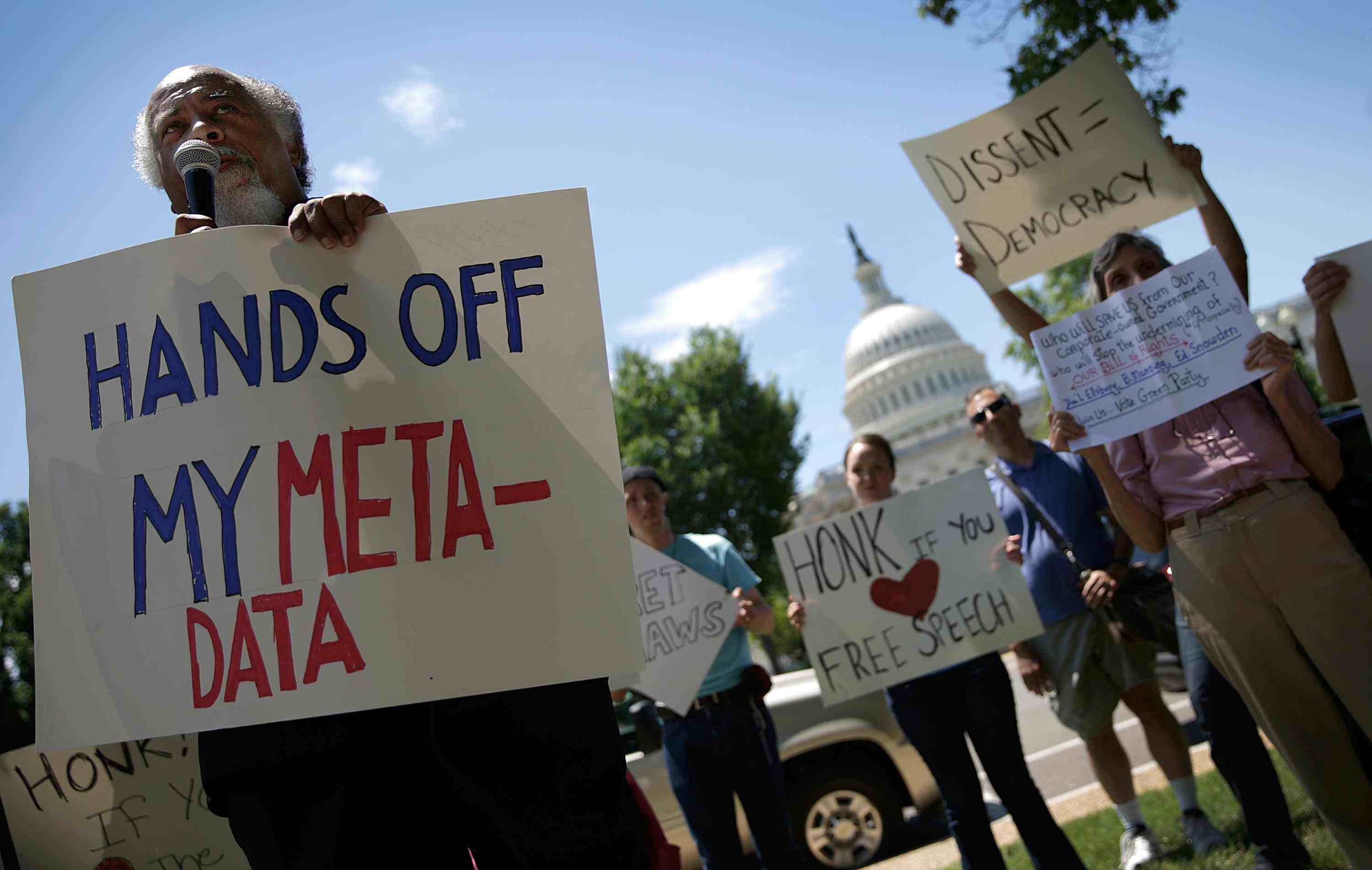 A rally outside the U.S. Capitol this month protests the National Security Agency's domestic surveillance program.