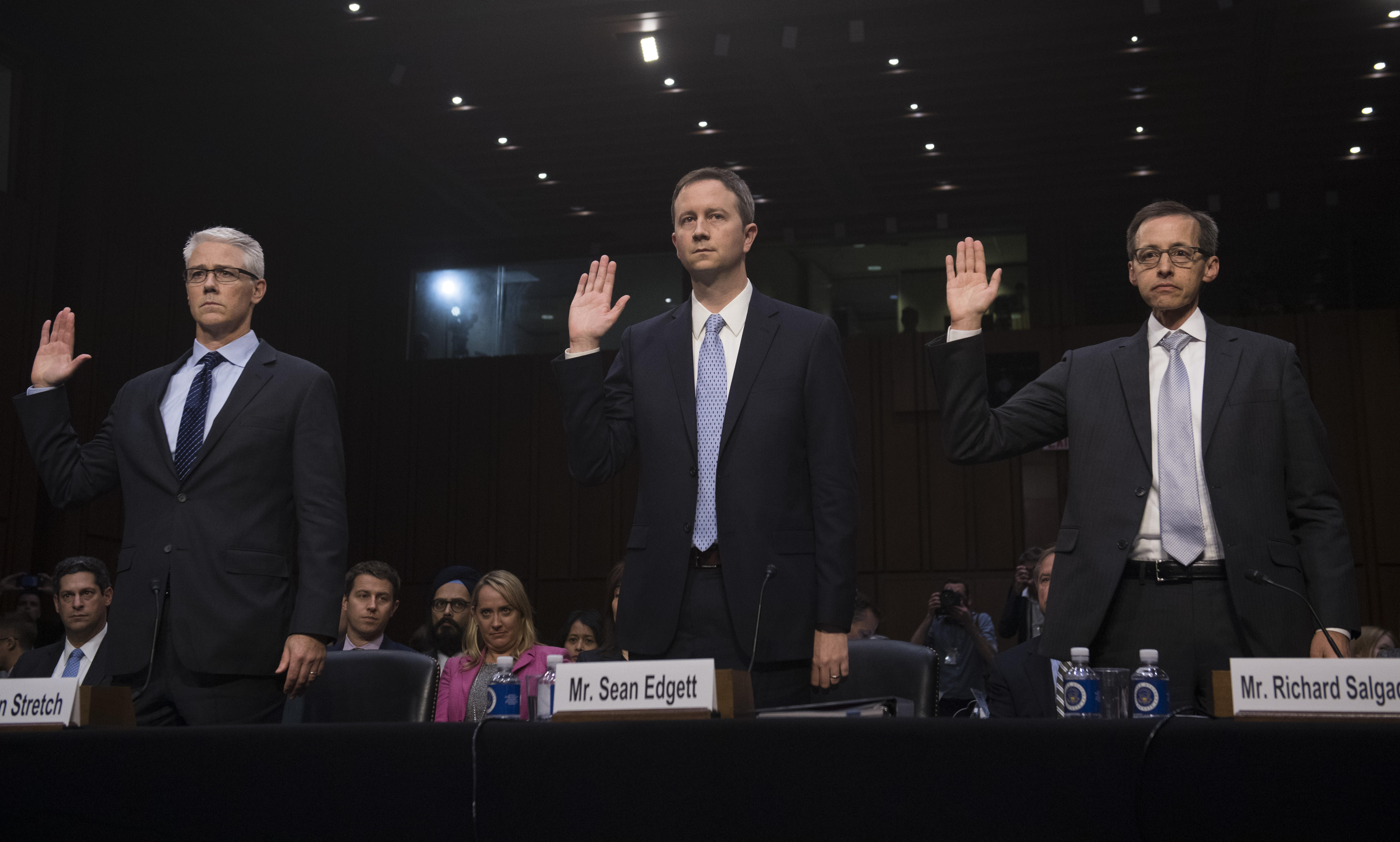 Left to right: Facebook General Counsel Colin Stretch, Twitter General Counsel Sean Edgett, and Google Director of Law Enforcement and Information Security Richard Salgado.