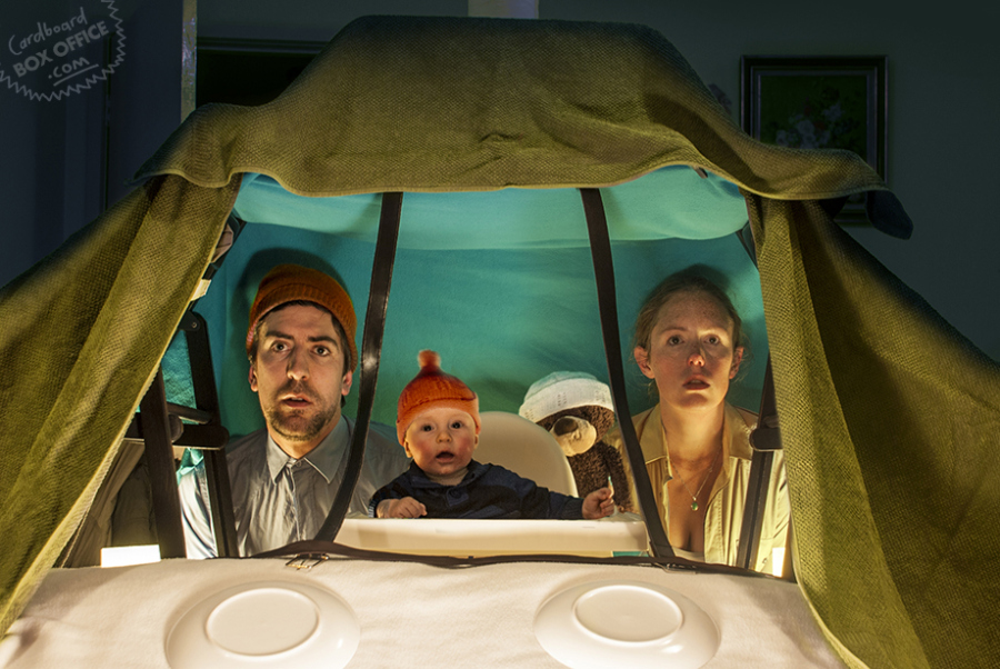 """This recreated scene from """"The Life Aquatic with Steve Zissou"""" shows that even with just cardboard boxes, blankets and a few knit caps, you can have an adventure at sea."""