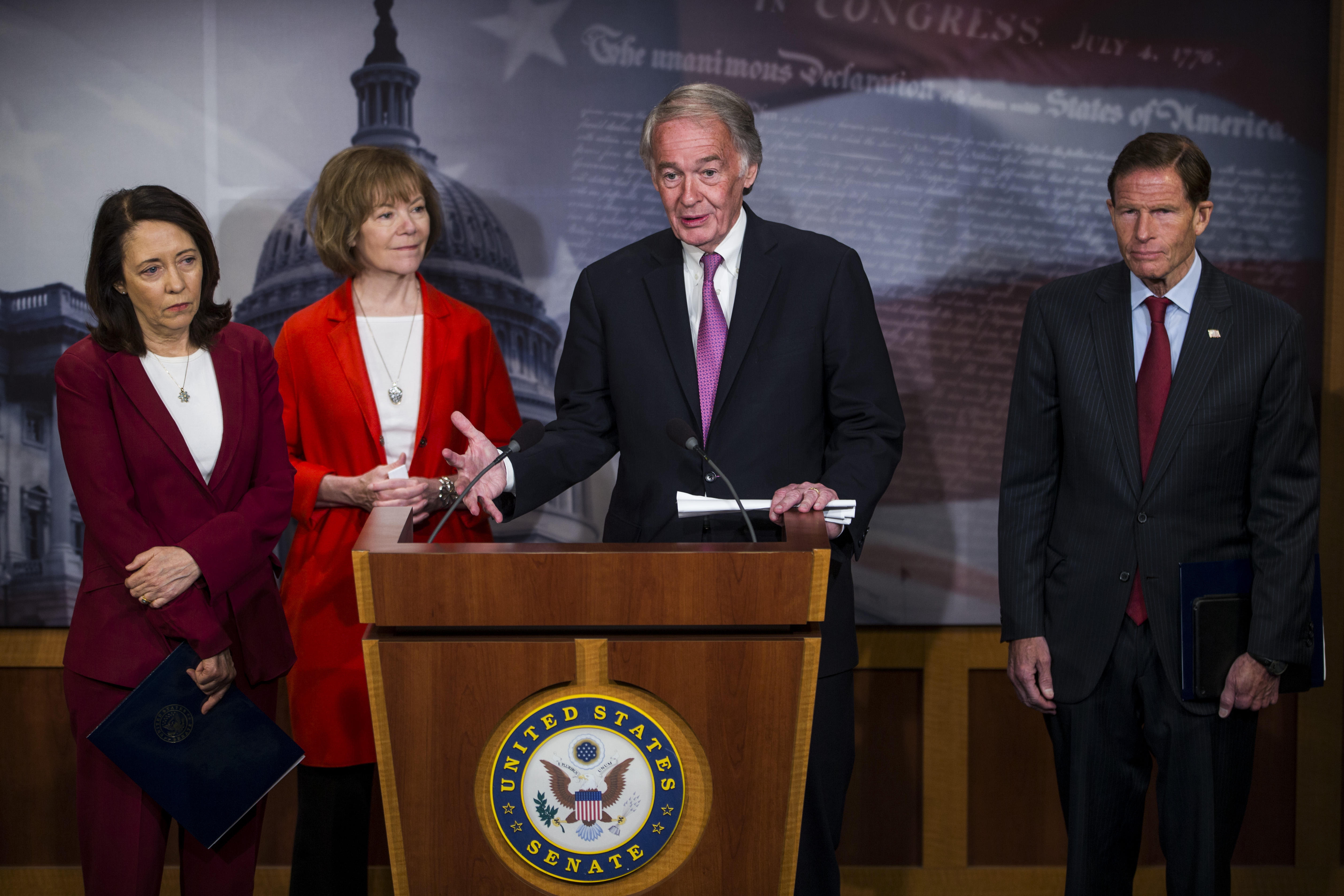 Sen. Ed Markey speaks during a news conference on a petition to force a vote on net neutrality on Capitol Hill. Also pictured are senators Maria Cantwell, Tina Smith and Richard Blumenthal.