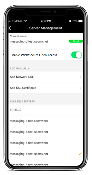 screenshot of an iPhone with Wickr's user settings open, showing a toggle button for WIckrSecure Open Access.